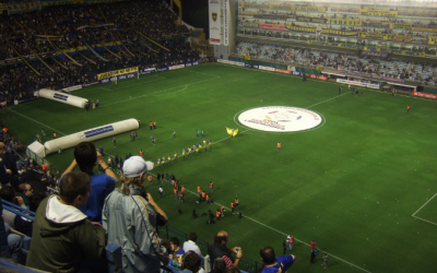 The Copa Libertadores logo is shown on the centre of the pitch before every game in the competition.   (Credit: JohnSeb on Wikimedia Commons - https://www.flickr.com/photos/johnseb/2610913835/)