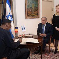 Chad President Idriss Deby meeting Israeli PM Benjamin Netanyahu