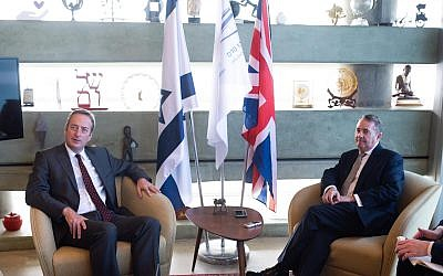 Dr Liam Fox with UK Ambassador to Israel, David Quarrey. Credit:  Ben Kelmer.
