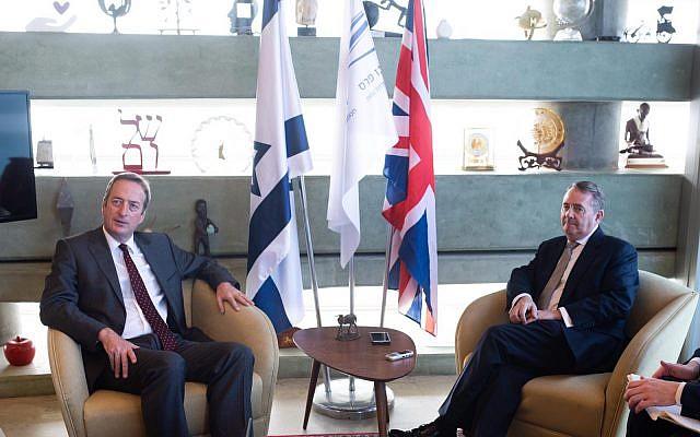 Dr Liam Fox with UK Ambassador to Israel, David Quarrey. Credit:  Ben Kelmer.