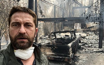 Gerard Butler posted this image on Twitter showing the devastation at his home following the wildfires