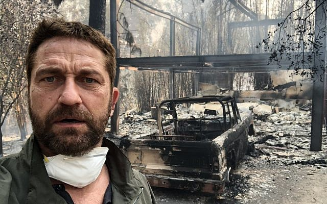 Gerard Butler gets abuse for wildfire tweet after attending