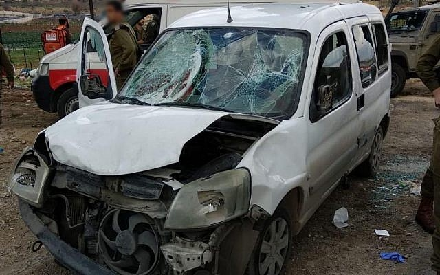 Smashed up car following the ramming incident in the West Bank. Credit: IDF on Twitter
