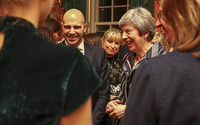 Theresa May with Danny Stone of the Antisemitism Policy Trust, Board of Deputies President Marie van der Zyl and other Jewish leaders as she addressed antisemitism