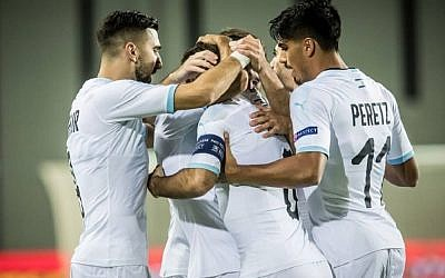 Israel celebrating one of the seven goals it scored against Guatemala in its 7-0 friendly win. Picture: Israel FA