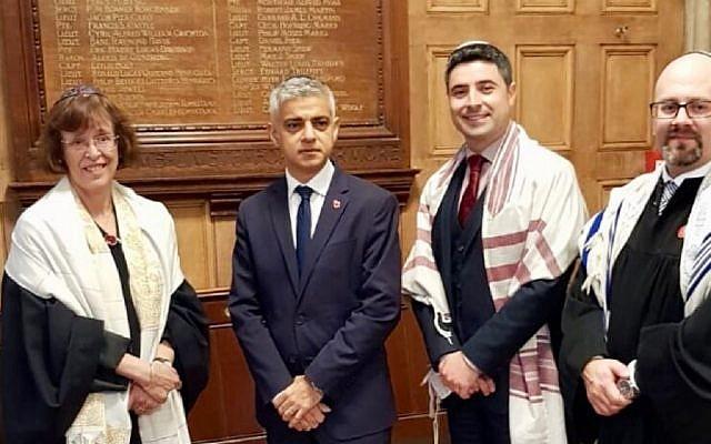 Pictured l-r: Principal Rabbi Helen Freeman, Sadiq Khan, Rabbi David Mitchel, Rabbi Neil Janes.