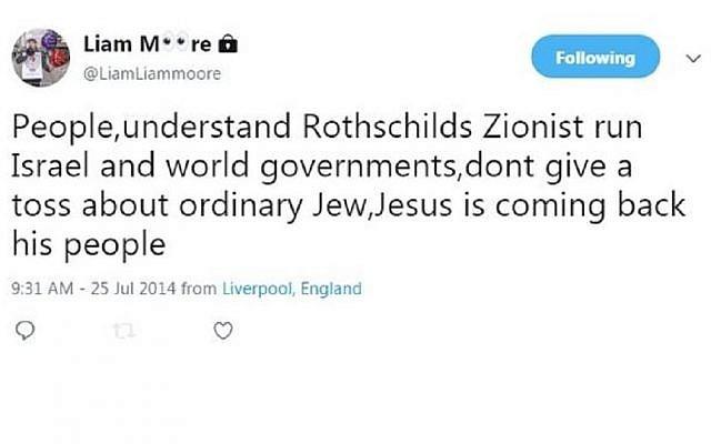 One of Liam Moore's tweets