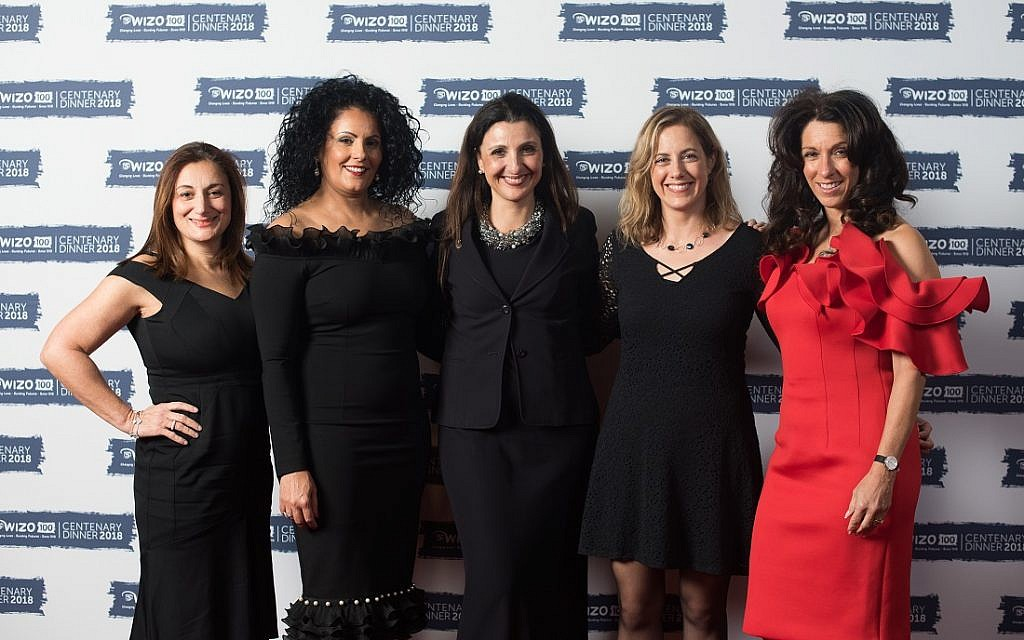 L-R: Vice-Chair Sarah Levy, Chairperson Ronit Ribak-Madari, Jerusalem Councillor Fleur Hassan-Nahoum, Kineret Munitz, Counsellor and Psychotherapist at the Rebecca Sieff Centre and Vice-Chair Ilana Metzger. WIZO UK centenary dinner. Credit: Blake Ezra