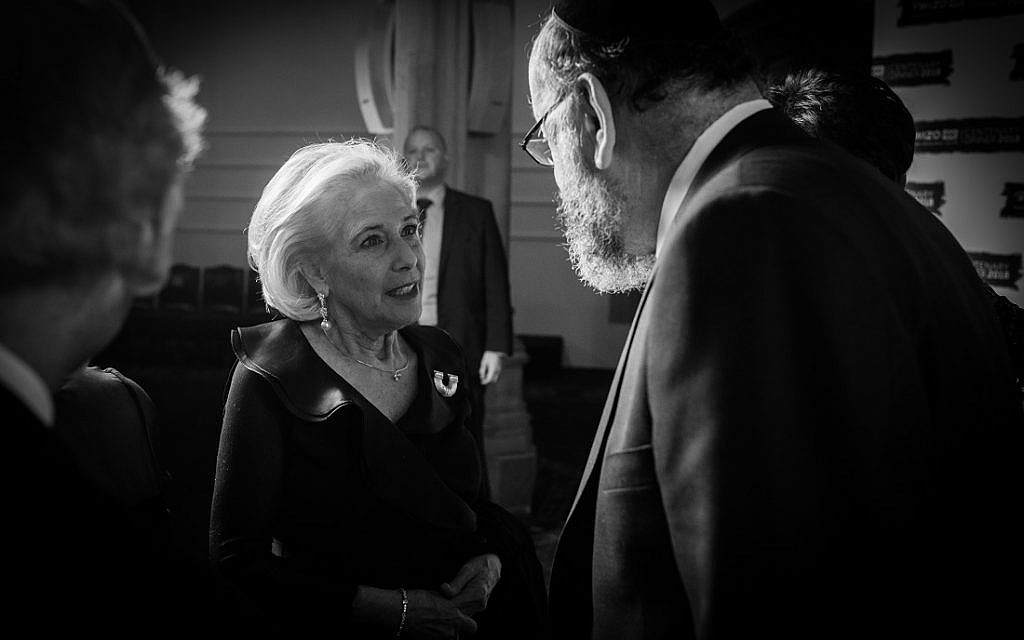 World WIZO President Esther Mor and Chief Rabbi Mirvis. WIZO UK centenary dinner. Credit: Blake Ezra