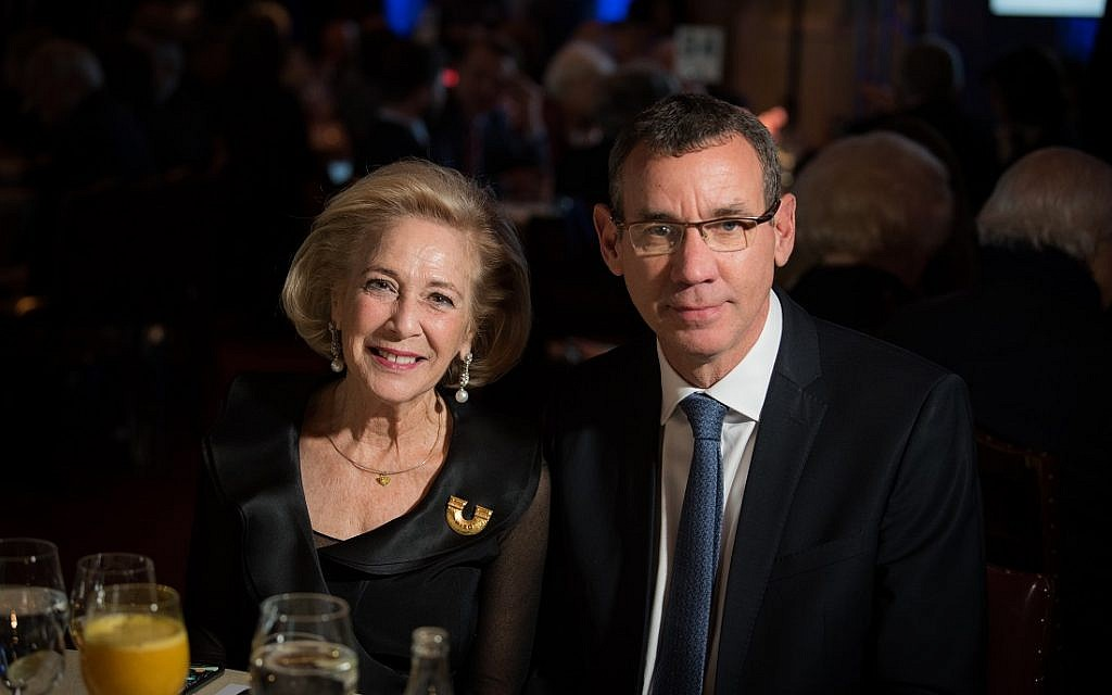 World WIZO President Esther Mor and Israeli Ambassador Mark Regev. WIZO UK centenary dinner. Credit: Blake Ezra