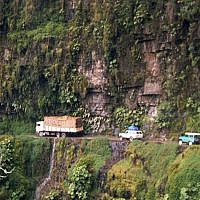 Yungas Road at San Pedro waterfall, Bolivia. Source: Wikimedia Commons