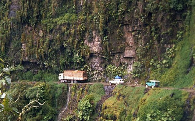 Yungas Road at San Pedro waterfall, Bolivia. Source: Wikimedia Commons