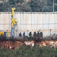 Drilling tools digging on the Israeli Lebanese border near the settlement of Metula, December 4, 2018. Photo by: Ayal Margolin-JINIPIX