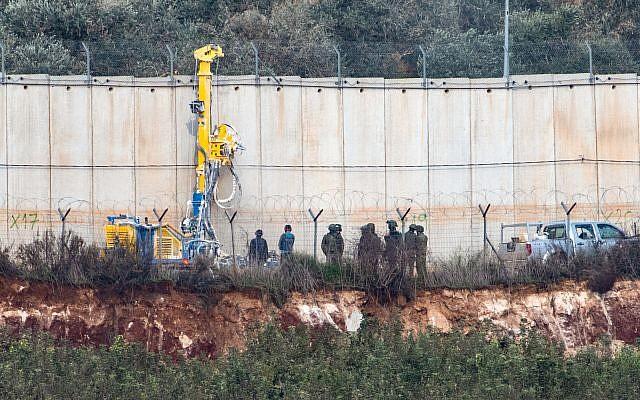 Drilling tools digging on the Israeli Lebanese border near the settlement of Metula, December 4, 2018. Photo by: Ayal Margolin-JINIPIX