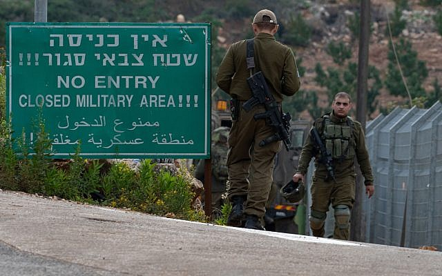 Israeli soldiers guard near an entrance leading to the border with Lebanon, in the town of Metulla, northern Israel December 4, 2018. Photo by: Ayal Margolin-JINIPIX
