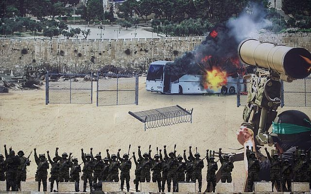 Masked gunmen of the al-Qassam brigades, the military wing of Hamas, raise their hands as they stand in front of a huge poster showing a mock attack on a bus, during a mass rally marking the 31st anniversary of the founding of Hamas, an Islamic political party, that currently rules in Gaza, Sunday, Dec. 16, 2018, in Gaza city. (AP Photo/Khalil Hamra)