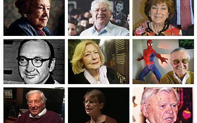 Left-right: Tiop: Sabina Miller, Josef Perl, Jo Wagerman. Middle: Neil Simon, Gena Turgel, Stan Lee. Bottom: Michael Freedland, Maureen Kendler, Alec Ward.