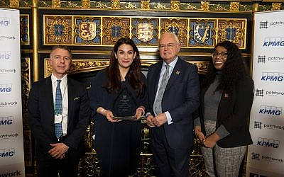 Left to Right: Michael Voigt (L'oscar Hotel, Sponsor), Luciana Berger MP, Sir Martyn Lewis CBE (Patchwork Patron), Makedah Simpson (Patchwork Alumni). Credit: Patchwork Foundation on Flickr