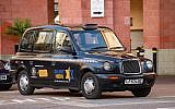 From The Depths' black Taxi, complete with the Chelsea FC logo and media sponsored by Jewish News. Picture credit: Philip Latka