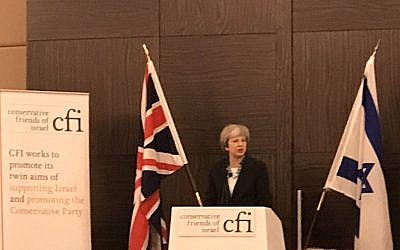 Theresa May addressing CFI. (Credit: Lord Eric Pickles on Twitter)