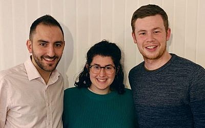 Limmud Festival 2019 Co-Chairs (from left) Dan Heller, Hannah Brady, and Ben Lewis.