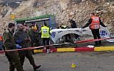 West Bank shooting attack which killed two. Medics and emergency workers at the scene:  Photos courtesy Eliyahu Dahari/ZAKA