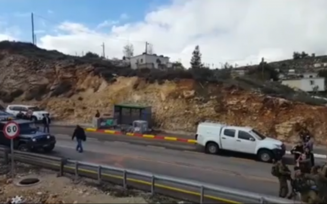 Screenshot from video of the Times of Israel, showing the aftermath of the attack