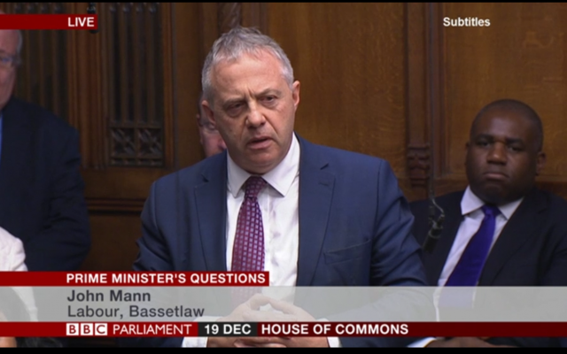 John Mann asking the Prime Minister a question at PMQs, about antisemitism in Britain.