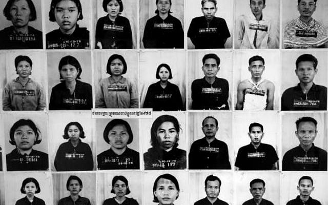 Photographs of individuals imprisoned during genocide at the notorious Tuol Sleng prison in Cambodia