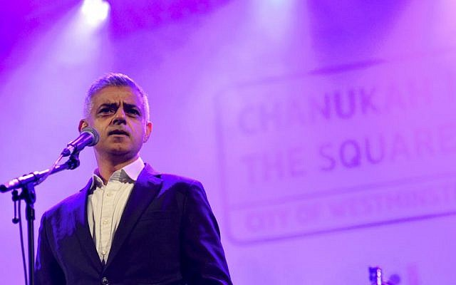 London Mayor Sadiq Khan speaking at Chanukah in the Square