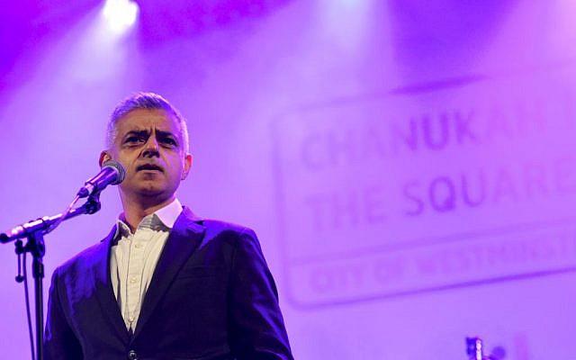London Mayor Sadiq Khan speaking at Chanukah in the Square