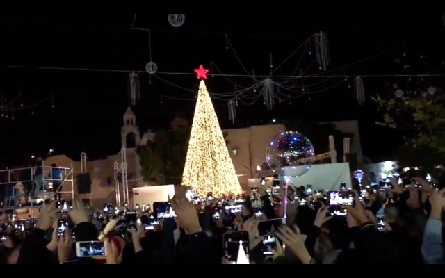 Screenshot from Youtube showing the lighting of the Bethlehem Christmas tree