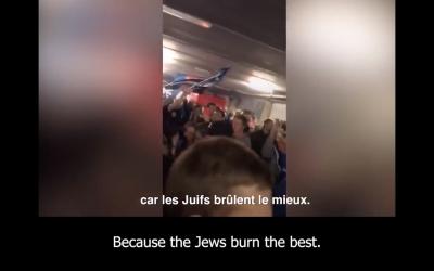 Screenshot of video showing Brugge fans singing antisemitic chants