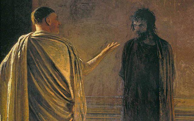 A painting of Pontius Pilate and Jesus. (Nikolai Ge/Wikimedia Commons)
