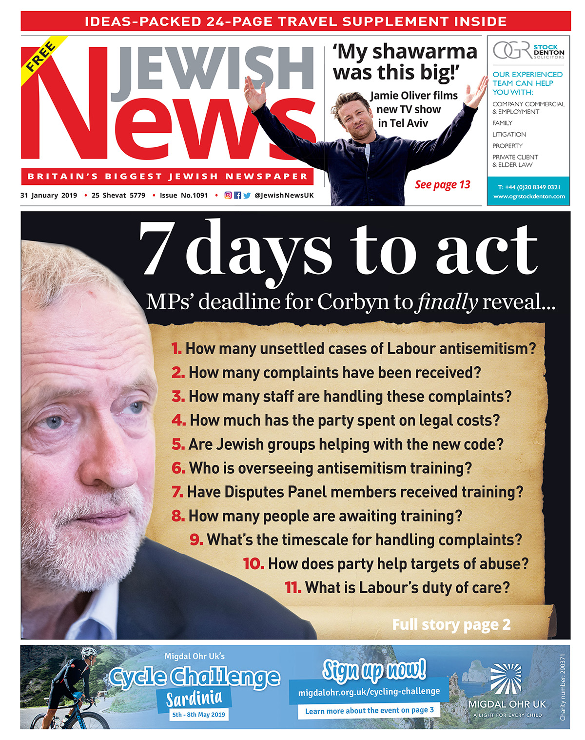 Last week's Jewish News front page, where MPs gave Labour 7 days to act on antisemitism