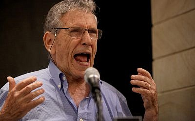 Israeli author Amos Oz speaks at Tel Aviv University , 14 May 2014 (reissued 28 December 2018). The award-winning Israeli writer Amos Oz died at the age of 79 after suffering from cancer on 28 December 2018. Photo by: Gideon Markowicz-JINIPIX