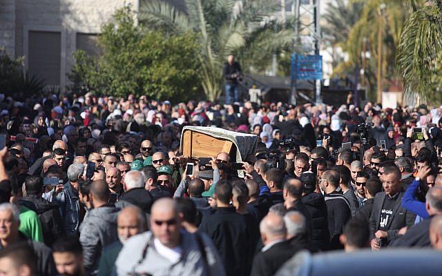 Thousands of people attend the funeral of Aiia Maasarwe in Baqa al-Gharbiyye on January 23, 2019. Maasarwe an Israeli-Arab student was raped and murdered last week in Melbourne Austrelia. Photo by: JINIPIX