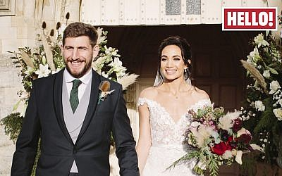 Laura Wright with Harry Rowland on their wedding day as they appear in this week's edition of Hello magazine. Photo credit: Hello!/PA Wire
