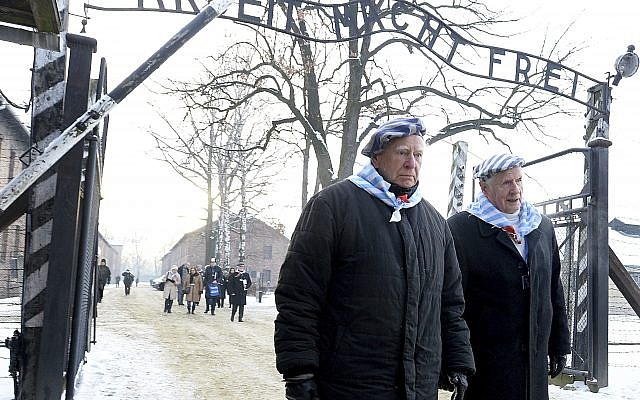 Survivors of Auschwitz gather on the 74th anniversary of the liberation of the former Nazi German death camp in Oswiecim, Poland, on Sunday, Jan. 27, 2019.  (AP Photo/Czarek Sokolowski)