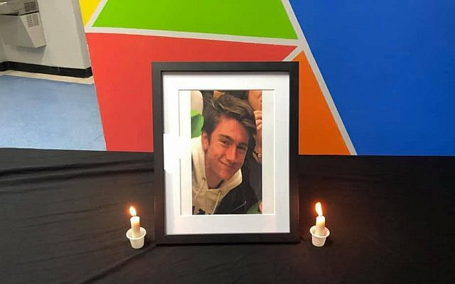 Memorial photo of 15-year-old Samuel Farkas, who fell to his death while climbing down from family's high-rise condominium, on January 8, 2019. (Facebook screen capture via Times of Israel)