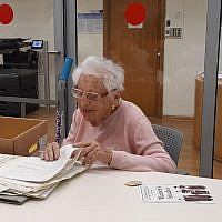 Alice Shalvi as she donated her archive to Israel's National Library. Credit Hanan Cohen National Library of Israel