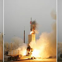 An Arrow anti-ballistic missile interceptor is launched from its mobile platform during a joint Israel/United States developmental test at the Point Mugu Sea Range, California