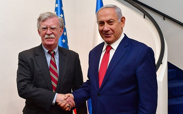 Benjamin Netanyahu with US Assistant to the President for National Security Affairs (NSA) John Bolton. (Source: Israeli PM's Twitter)