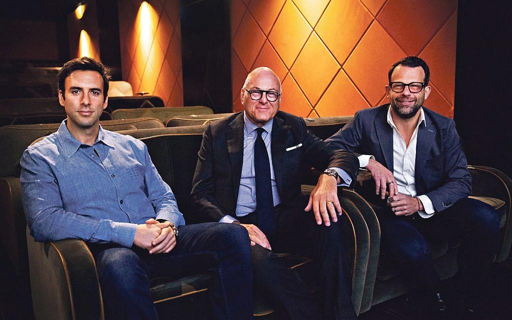 Daniel Robey, right, with Travelex Group founder Sir Lloyd Dorfman and Sir Lloyd's son Charles of Dorfman Media Holdings