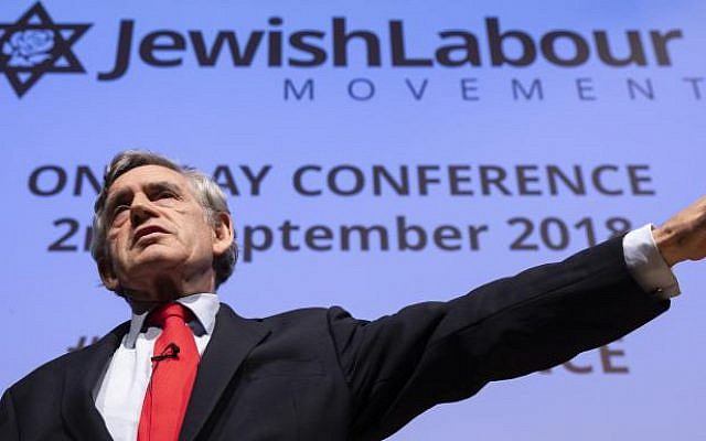 Gordon Brown speaking at JLM's One Day Conference, where he sounded a warning against antisemitism