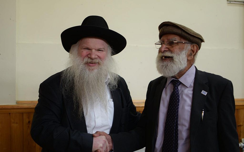 Rabbi Herschel Gluck with Bashir Chaudhry, chairman of the mosque which held the event