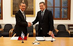Tax protocol agreed this week between the Jewish state's envoy to Britain, Mark Regev (left), and Financial Secretary to the Treasury Mel Stride MP (right)