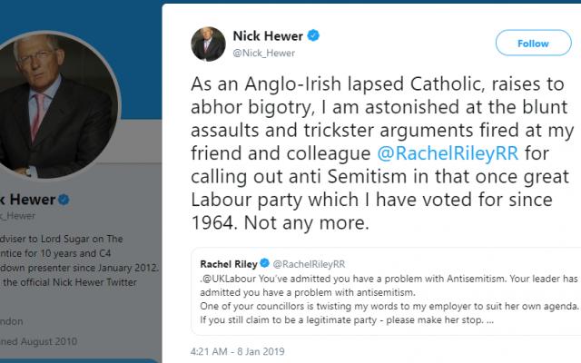 Nick Hewer's tweet defending Rachel Riley