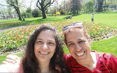 """Sisters Lily Pereg, left, and Pyrhia Sarusi in a photo posted on the """"Missing in Mendoza"""" Facebook page. (Facebook via Times of Israel/JTA)"""