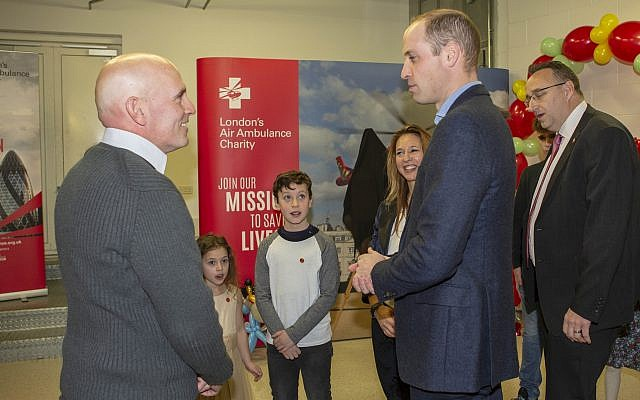 Yair Shahar and his family meeting Prince William (Credit: Ian Vogler)